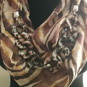 Accessories - Infinity Scarf Brown Animal Print w/ Link Chain